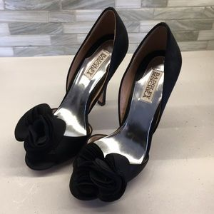 Badgley Mischa black satin open toe heels